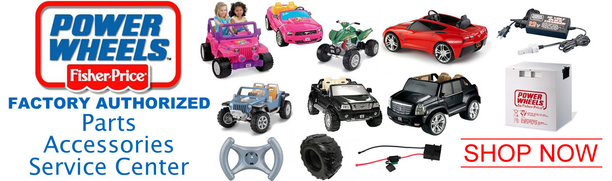 fisher-price-power-wheels Oakridge Hobbies is a full service Factory Authorized Power Wheels Parts and Service Center. See our huge selection of Power Wheels Ride On Parts link (Power Wheels - All Available Replacement Parts). Use our friendly online parts list which includes detailed diagrams, manuals, and parts lists to help you find everything from Power Wheels Batteries, Chargers, Wheels, Motors, Stickers, and more!